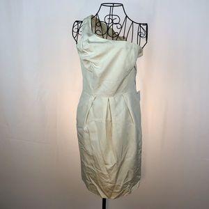 Glint silk one shoulder dress pockets NWT 10